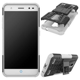Harga Tyre Pattern Kickstand 2-in-1 Detachable PC + TPU Phone Cover Casefor ZTE Blade V6 Plus - White