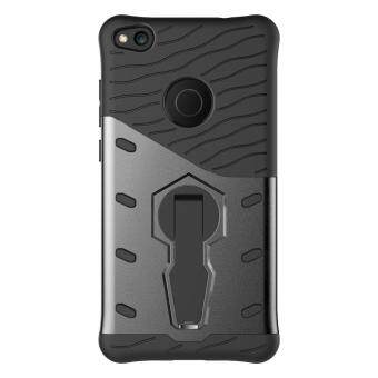 UEKNT Heavy Duty Rugged Armor Shockproof Case with 360 DegreeSwivel Rotating Kickstand Case for Huawei P8 Lite 2017 / HuaweiNova Lite (Black) - 2
