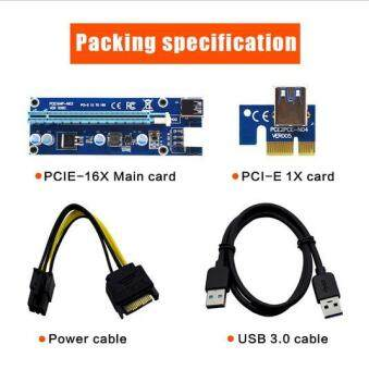 VER006C Blue PCI-E Extender 1x to 16x PCI Express Riser Card 60cm USB 3.0 Cable SATA to 6Pin IDE Power for BTC Miner