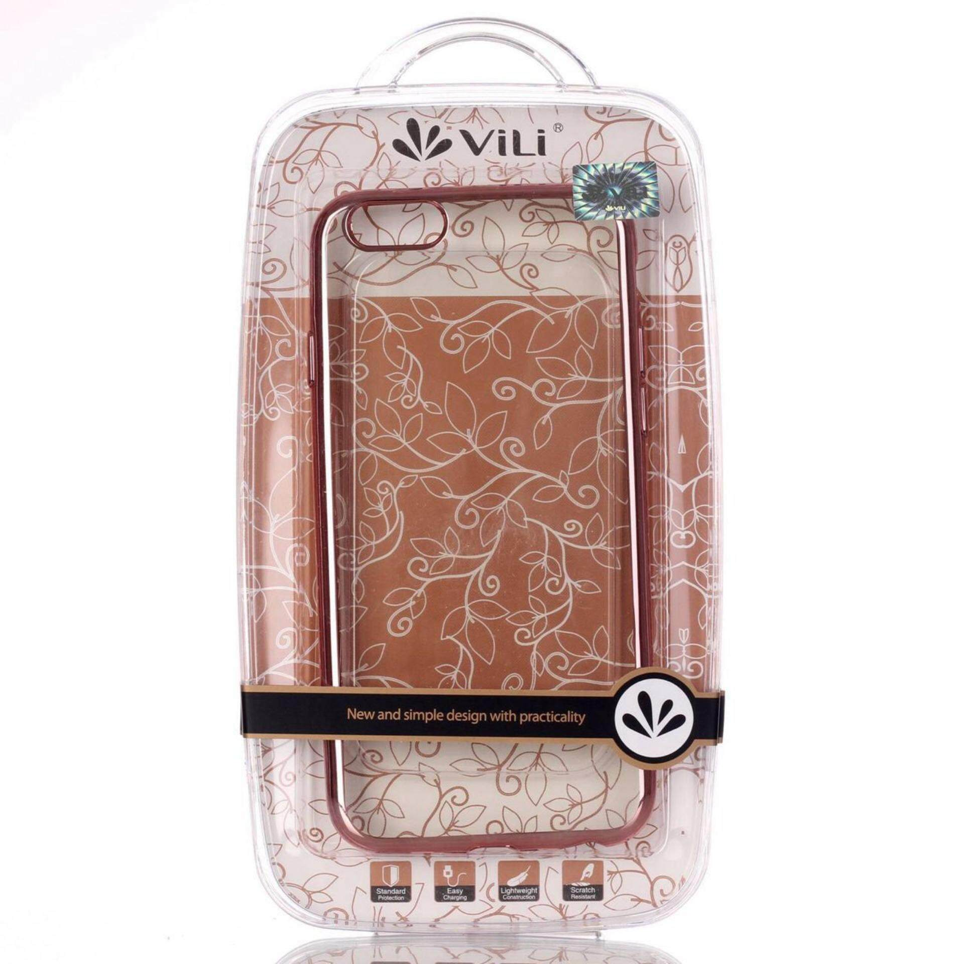 ViLi Apple iPhone 6 Plus 6s Plus TPU Silicone Ultrathin Luxury Slim Electroplating Crystal Clear Transparent Soft Back Cover Case Covers (Pink Rose Gold) FREE 2 Screen Protector