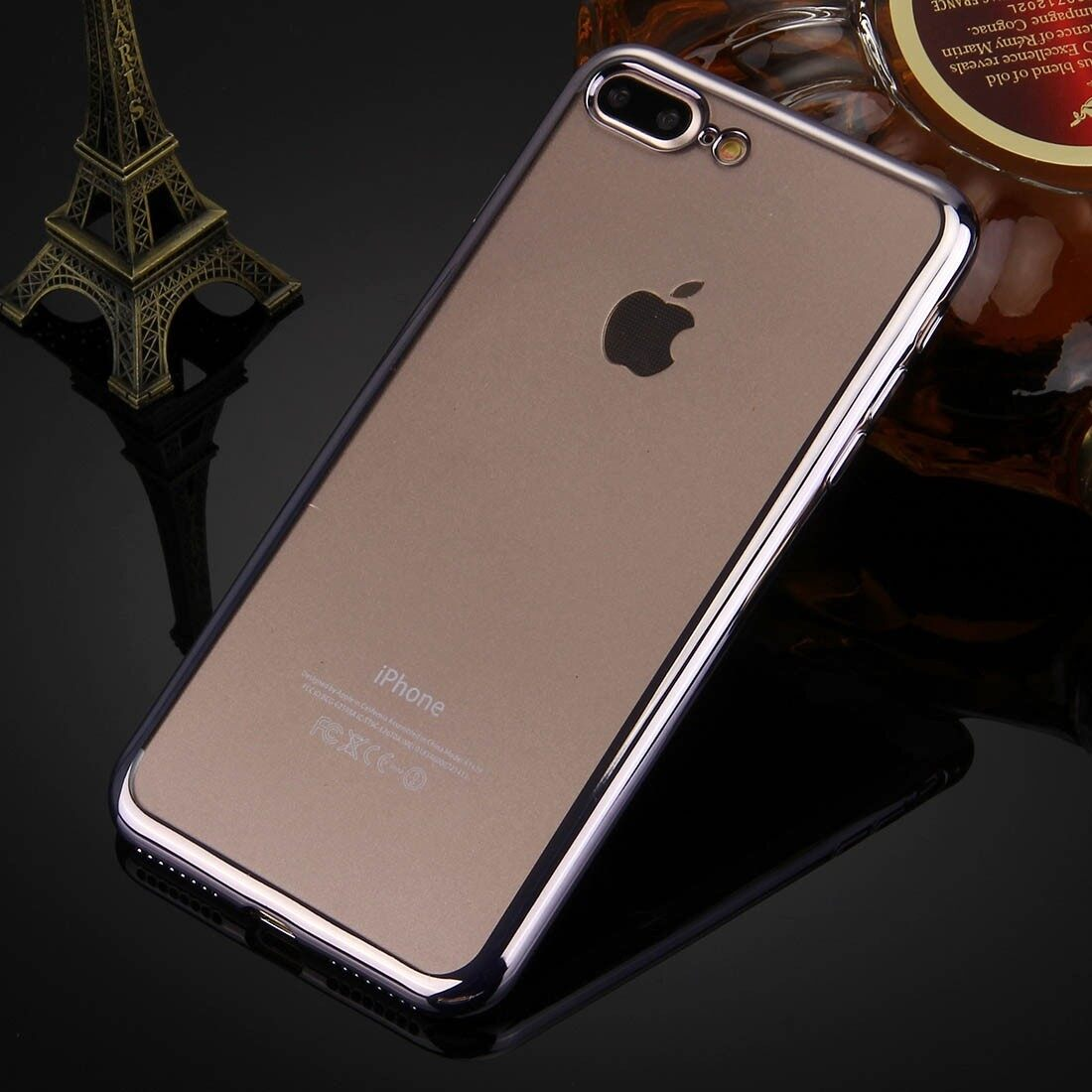 ViLi Apple iPhone 7 Plus TPU Silicone Ultra thin Luxury Slim Electroplating Crystal Clear Transparent Soft Back Cover Case Covers (Dark Grey) **Free x1 Tempered Glass Worth Rm 39**