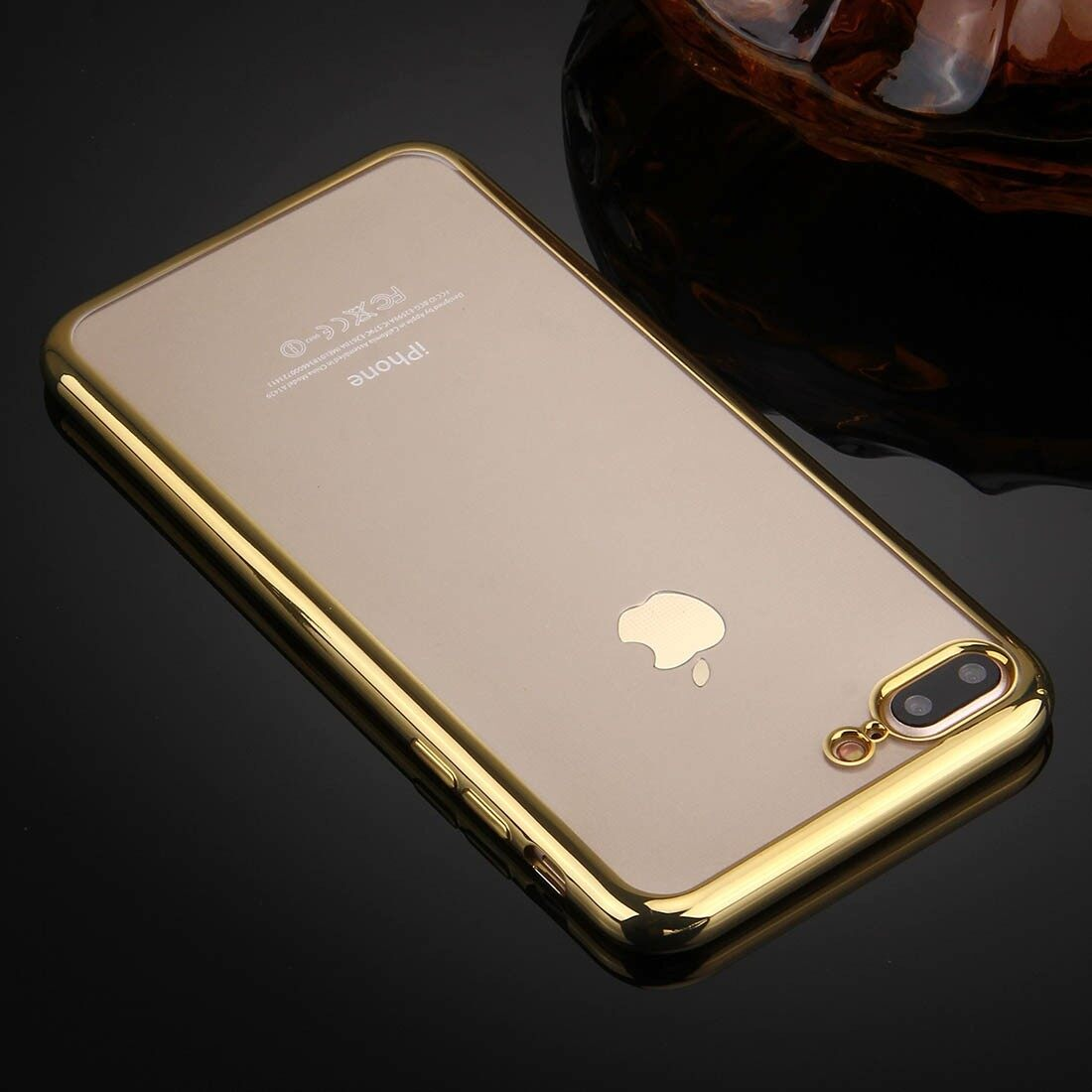 ViLi Apple iPhone 7 Plus TPU Silicone Ultra thin Luxury Slim Electroplating Crystal Clear Transparent Soft Back Cover Case Covers (Luxury Gold) **Free x1 Tempered Glass Worth Rm 39**