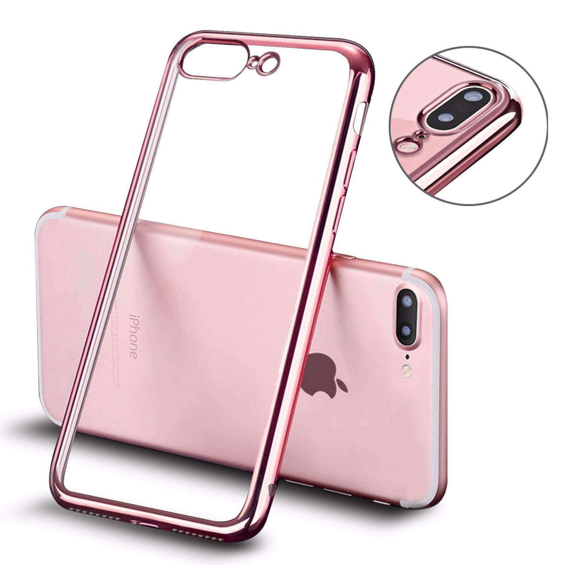 ViLi Apple iPhone 7 Plus TPU Silicone Ultra thin Luxury Slim Electroplating Crystal Clear Transparent Soft Back Cover Case Covers (Rose Gold) **Free x1 Tempered Glass Worth Rm 39**