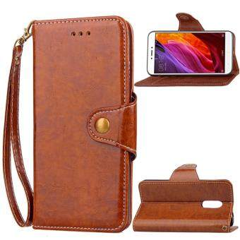 Vintage Leather Business Card Holder Hidden Wallet Flip Cover Case for Xiaomi Redmi Note 4