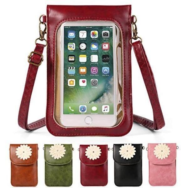 Wanita Bunga PU Kulit Layar Sentuh Dompet Dompet Selempang Bahu Tas Anda Apple iPhone X/