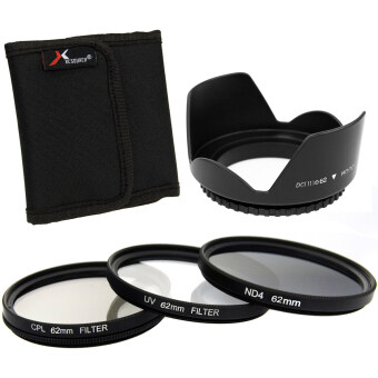 Harga XCSource 3pcs UV CPL ND4 Filter + Lens Hood 62mm for Canon EOS1100D 1000D 6D 7D 5D LF283