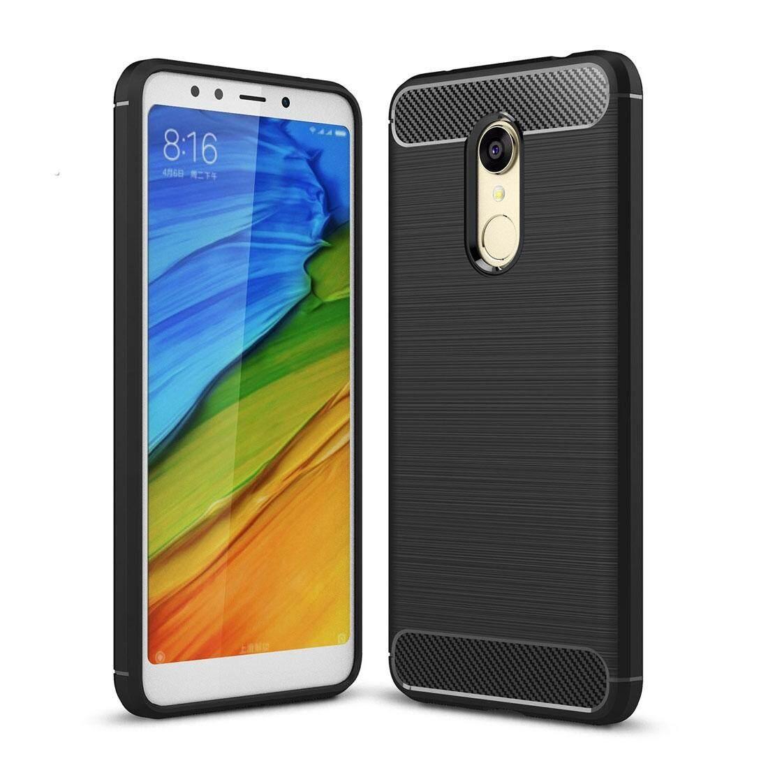 ซื้อ Xiaomi Redmi 5 Brushed Texture Carbon Fiber Shockproof Tpu Rugged Armor Protective Case Black Intl ถูก