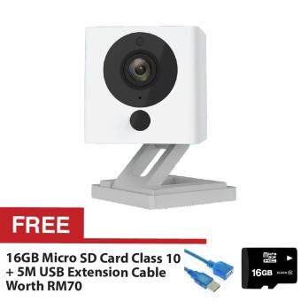 Xiaomi Small Square Xiao Fang Yi CCTV IP Camera Night Vision 1080PFull HD (White) + FREE Micro SD Card Class 10 16GB + FREE HighSpeed Extension Cable USB2.0 5M
