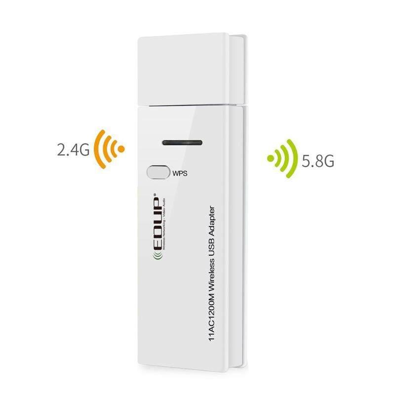 YBC USB Nirkabel Adaptor 1200 Mbps WIFI Penerima Ganda Tali 2.4/5.8 GHz Dongle untuk Rumah Buah Laptop- internasional