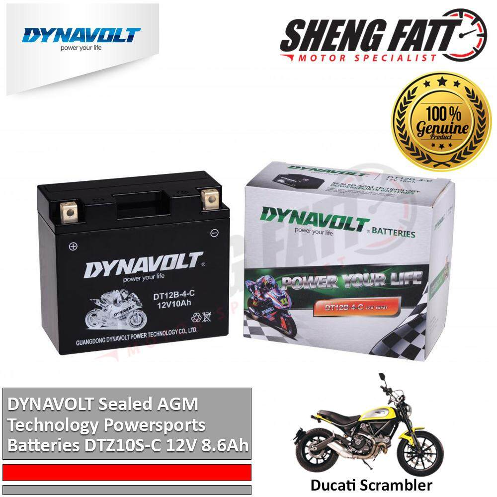 Ducati Scrambler DYNAVOLT Sealed AGM Technology Powersports Batteries DT12B-4-C 12V 10Ah