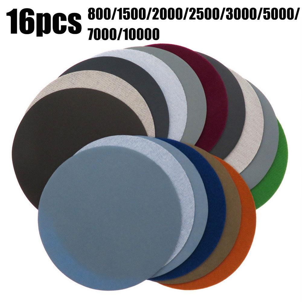 "Wet Abrasive Sanding Discs 1/"" 8/"" Hook /& Loop Round Sandpaper 800-10000 Grit"