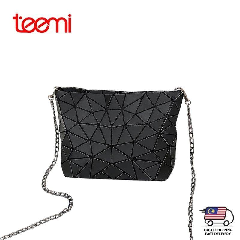 TEEMI Women Fashion Sling Crossbody Bag Geometric Diamond Lattice Patchwork Matt Hologram Laser Faux Leather Trendy Ladies