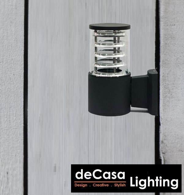 DECASA Outdoor Wall Light Black Updown Effect Light E27 Aluminium Glass Outdoor Garden Lamp (NWT-046-1-BK)