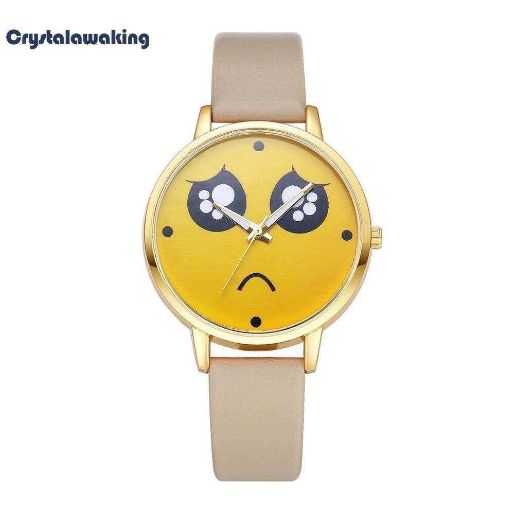 ?Crystalawaking?Poor Emoji พิมพ์ Dial นาฬิกาควอตซ์สายหนังผู้หญิงนาฬิกาข้อมือ
