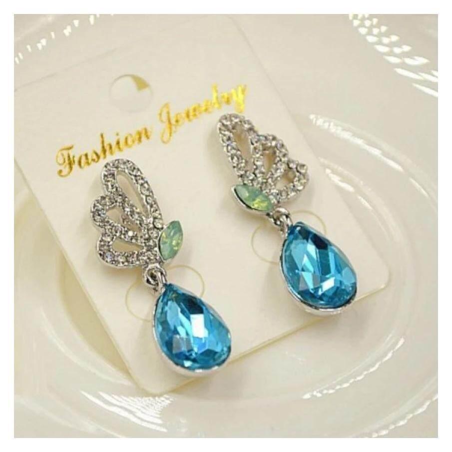 Butterfly Drop Earrings (Crystal Blue)