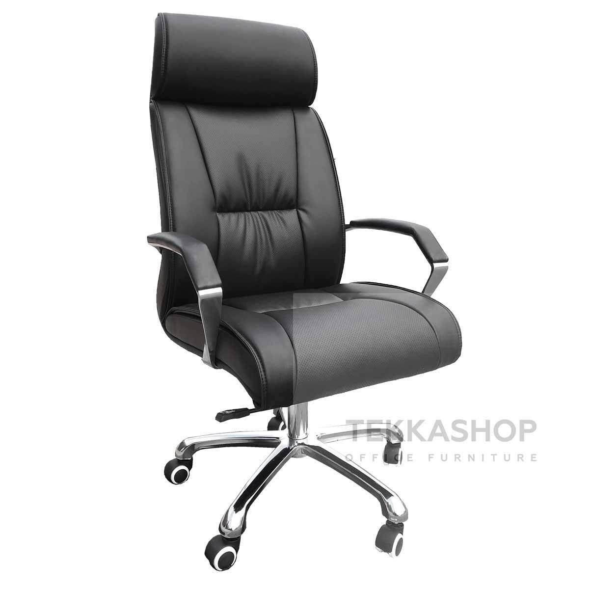 Tekkashop KKMOC2015A Adjustable Seat Height Ergonomic High Back Swivel Mesh Comfort Home Office PU Leather Office Chair, black