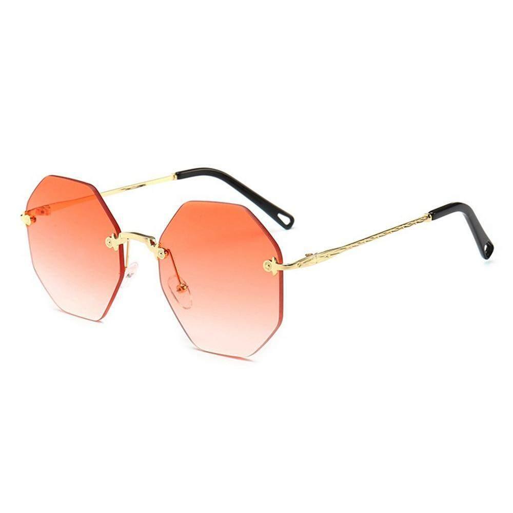 Auoker พัดลมสีการไล่ระดับแฟชั่นแว่นตากันแดดไร้ขอบน้ำหนักเบาเป็นพิเศษโลหะ Frameless แว่นตาผู้หญิง