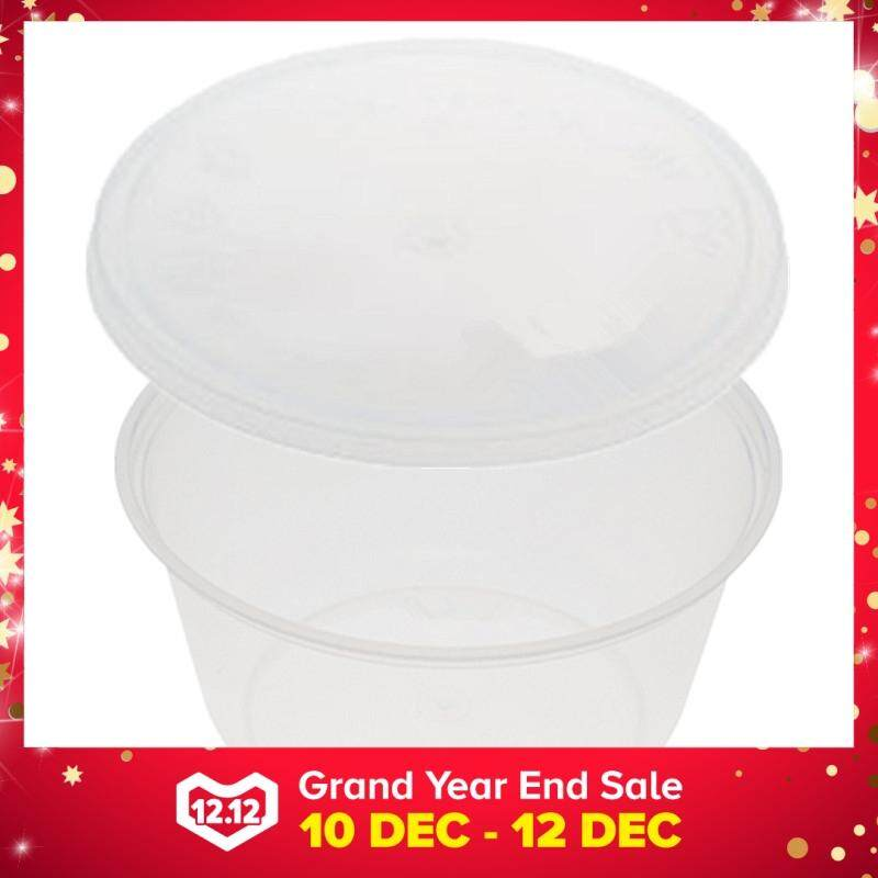 380ml PP Microwavable Round Containers With Lids Clear 10pcs