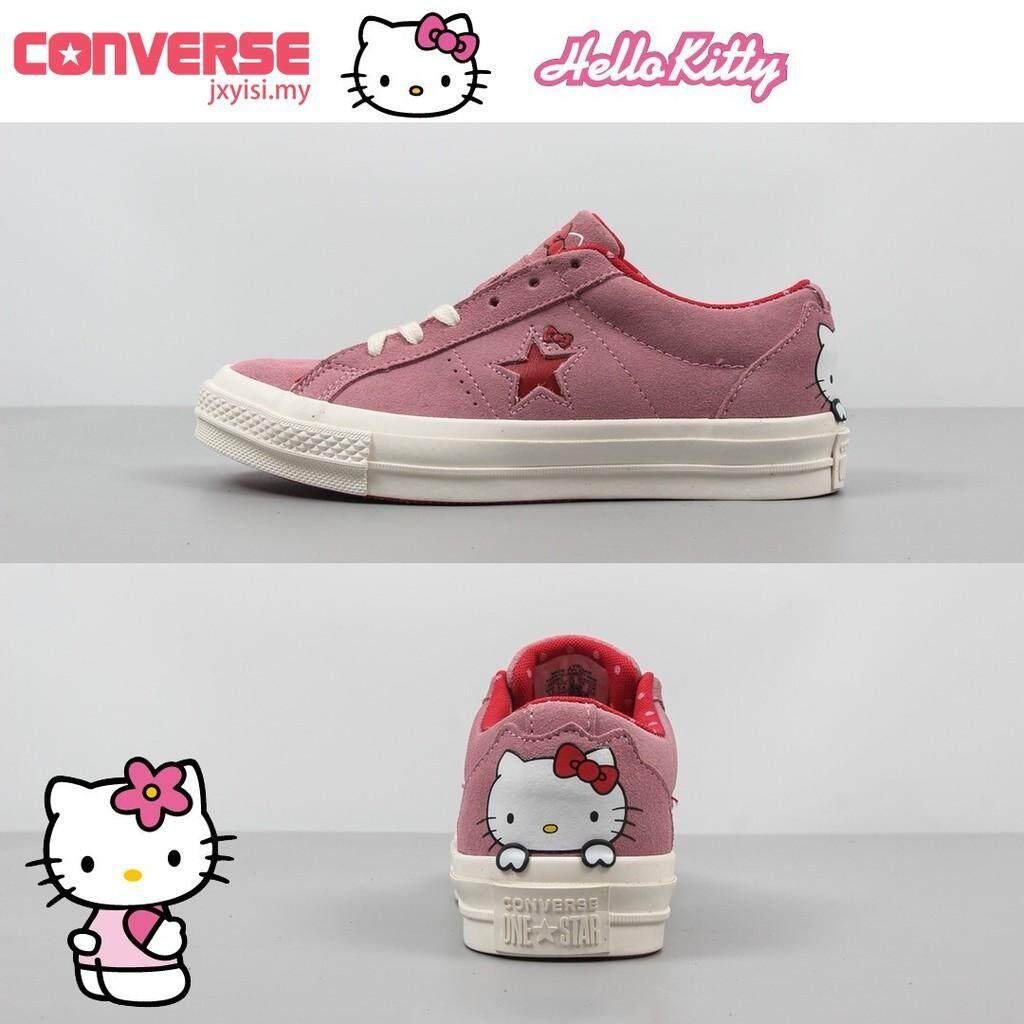 ยี่ห้อไหนดี  พระนครศรีอยุธยา Converse ออริจิน้อล One Star รองเท้าผ้าใบน่ารักสตรี Hello Kitty สีชมพูรองเท้าผู้หญิง