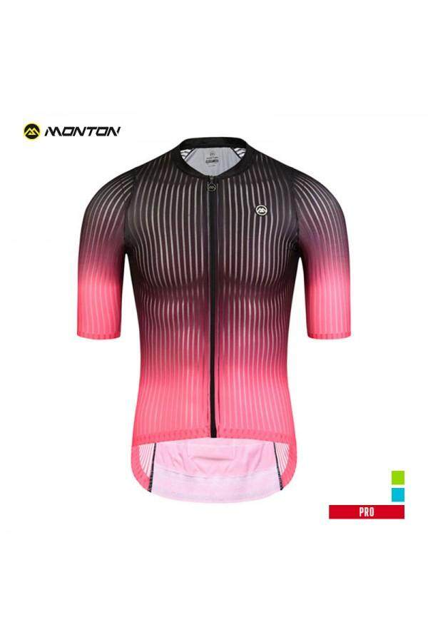 MONTON PRO MENS SHORT SLEEVE CYCLING JERSEY SPACE BLACK RED