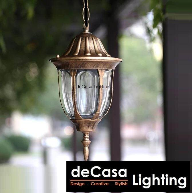 DECASA Antique Outdoor Pendant Best Seller Light Weather Proof Oudoor Ceiling Light Lampu Hiasan Gantung (CM-PT304-PENDANT-AB)