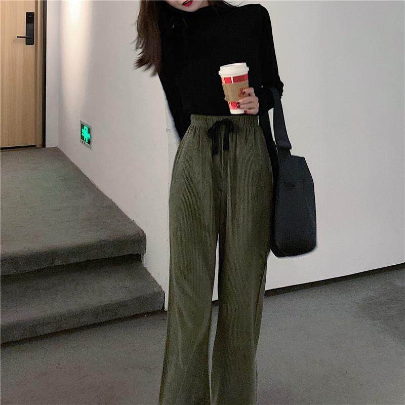 Gadis Republik Harga Lebar Kaki Celana Versi Korea Korduroi Peramping Pinggang Tinggi Celana Kasual - 4