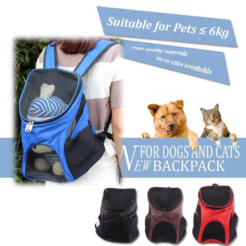 Grooming & Accessories - Portable Pet Dog Cat Puppy Travel Breathable Double Shoulder Backpacks Sport - [RED / BLACK / BLUE / COFFEE]
