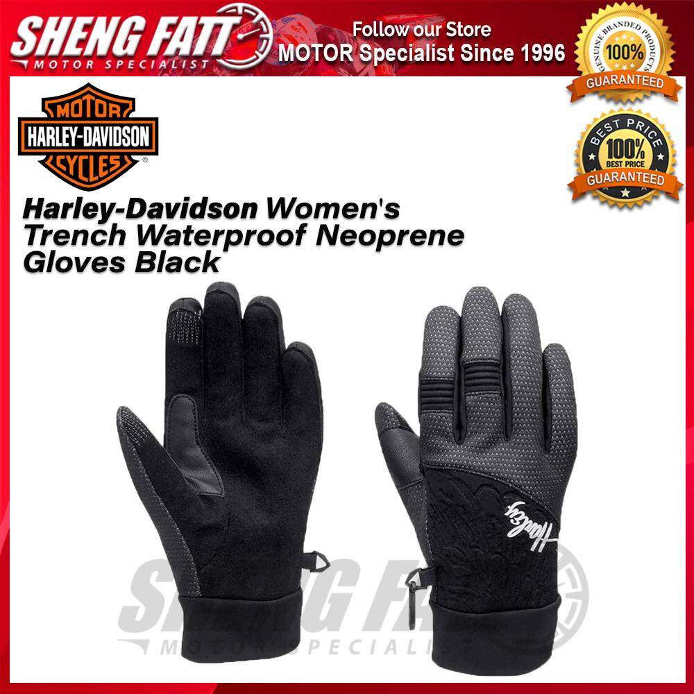 Harley-Davidson® Women's Trench Waterproof Neoprene Gloves Black - [ORIGINAL]
