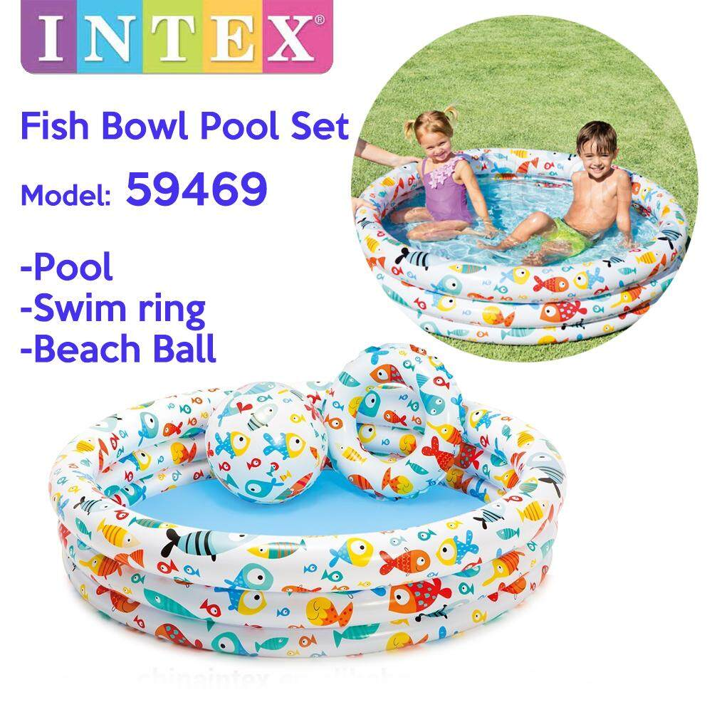 INTEX 59469 Fish Bowl Pool 3 Ring Inflatable Baby Bathtub Play Pool Swimming Pool Set for Baby or Kids With Swim Ring+Beach Ball (132 x 28cm)