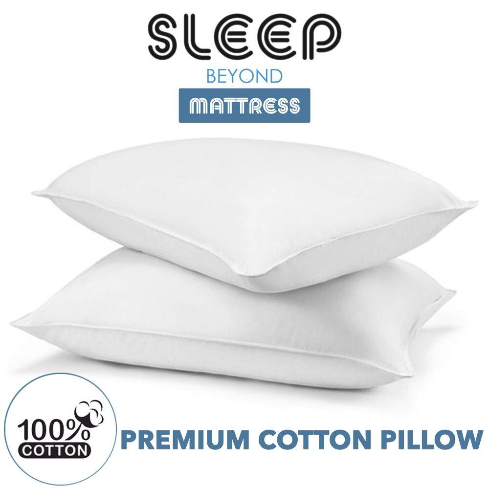 "SLEEP BEYOND Premium White Pillow with 100% Cotton Bantal Kapas [17""X27""] 1 Pcs"
