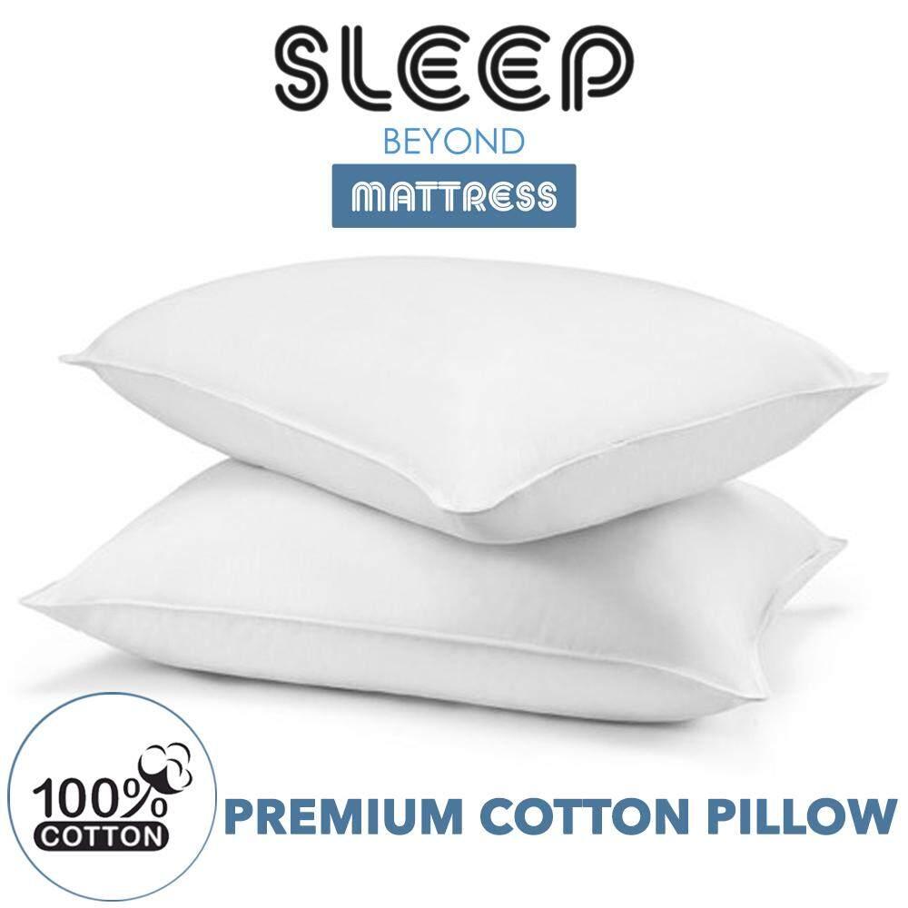 "SLEEP BEYOND Premium White Pillow with 100% Cotton Bantal Kapas [17""X27""] 1 Pcs"