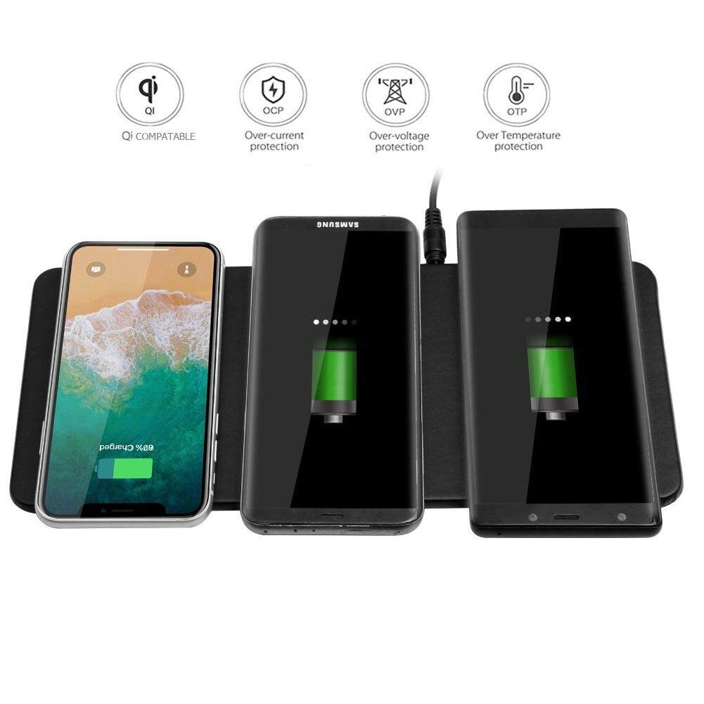 JE UT-16 Wireless Qi Charging Power Station Multi Triple Device Charger for iPhone 8 X Samsung Galaxy Nexus LG G Series