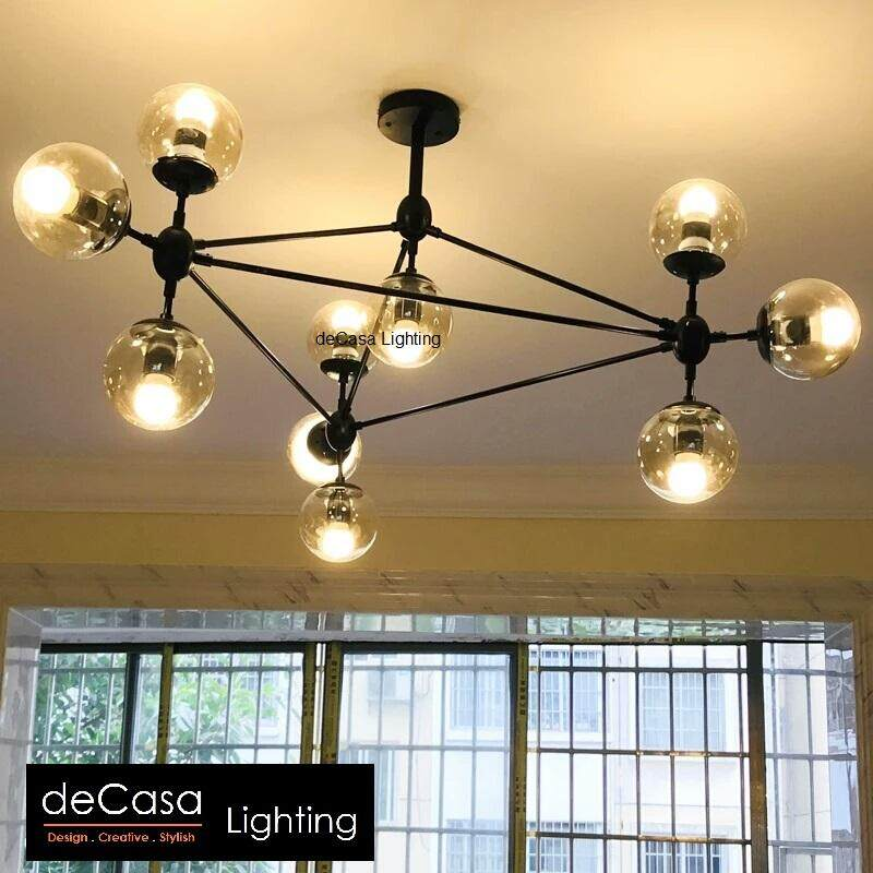 New Arrival Modern Designer Industrial 10 & 15 Glass Chandelier DECASA Designer Decorative Modern Glass Ceiling Light Haging Light (UBS-MD5098)