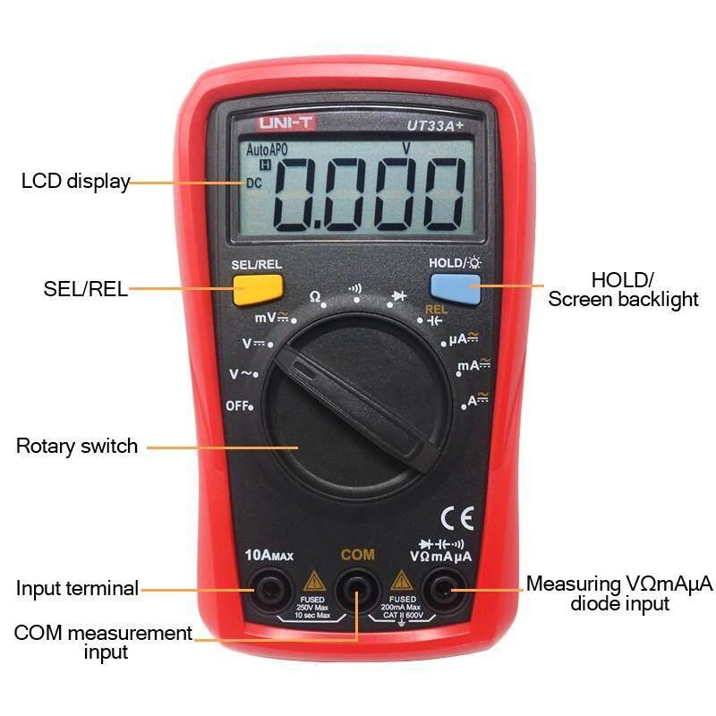UNI-T UT33A+/UT33B+/UT33C+/UT33D+ Palm Size Multimeter; Resistance/Capacitance/Temperature/NCV Test, Backlight - UT33A+ / UT33B+ / UT33C+ / UT33D+