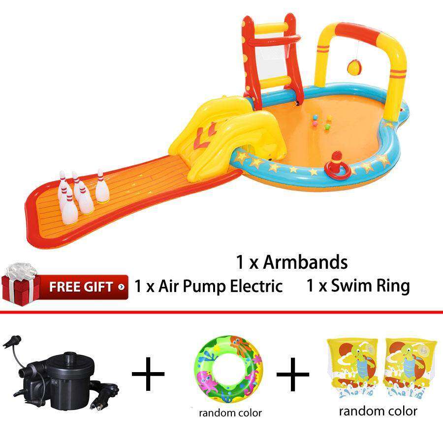 Bestway 53068 Lil' Champ Play Center Pool Bowling Alley with Slide Sprayer Basketball Comfort Children Toys