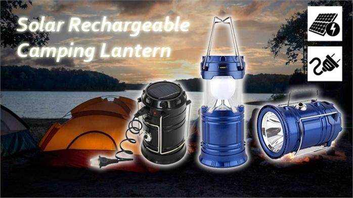 Solar Lantern Outdoor Super Bright Rechargeable Camping Light POWER BANK LED Camping Light SOS Help Brightnessrgency Hurricanes Hiking Hunting Storm - Random Colour