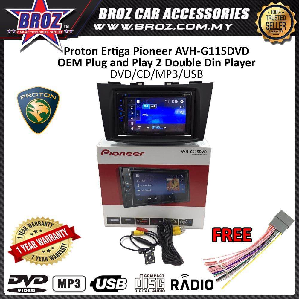 "Proton Ertiga Pioneer AVH-G115DVD OEM Plug and Play 6.2"" Double Din XNRC PIONEER COLOR"