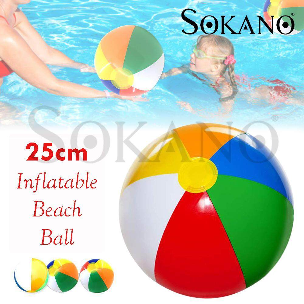 SOKANO Inflatable Blow Up Beach Ball Pool Party Rainbow Water Play Swim Sand Garden Toy 25cm Bola Mainan
