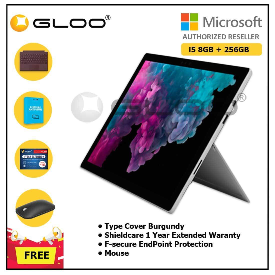 Microsoft Surface Pro 6 Core i5/8GB RAM - 256GB + Type Cover Burgundy + Shieldcare 1 Year Extended Warranty + F-Secure EndPoint Protection + Mouse