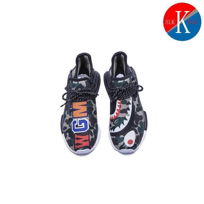 สอนใช้งาน  ชลบุรี Pharrell Williams Adidas เผ่าพันธุ์มนุษย์ NMD X BAPE Boost Running รองเท้า HRN1