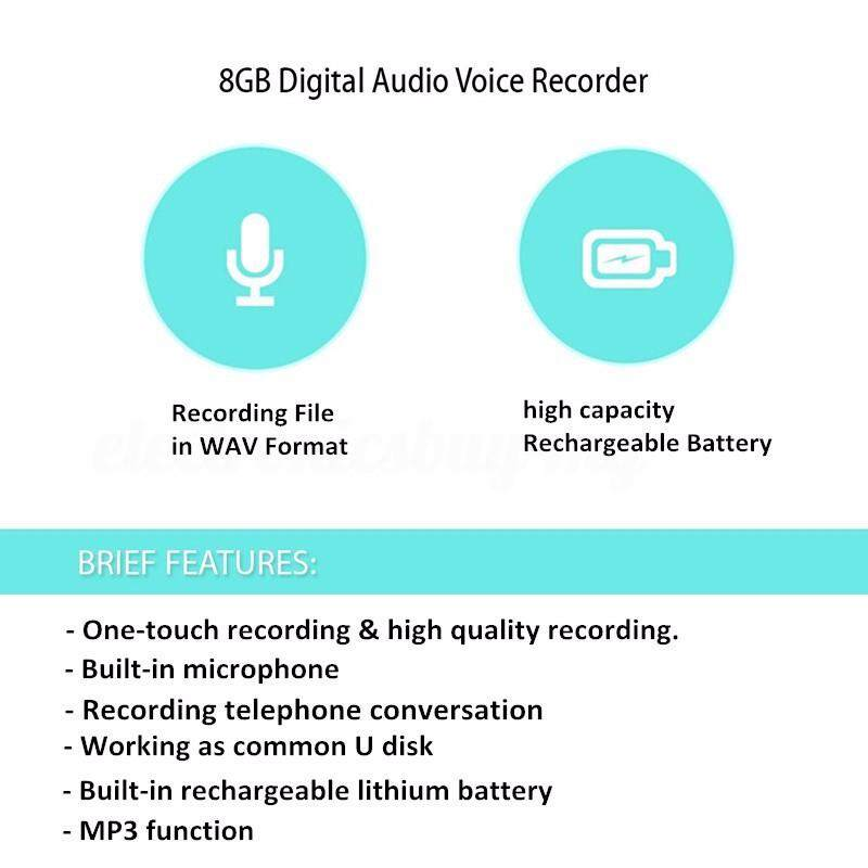 8GB Stylish MINI USB Voice Recorder Dictaphone U disk MP3 Player repeat machines - SILVER / BLACK