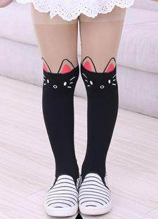 Kids Girl Panty Hose Legging - Cute Kitty (Black)