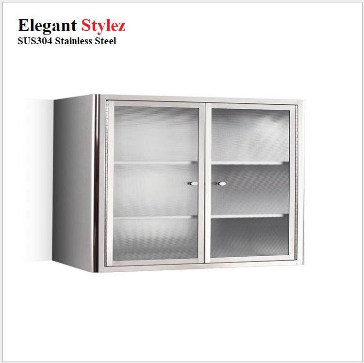 ELEGANT STYLEZ SUS304 STAINLESS STEEL BATHROOM / KITCHEN GLASS DOOR CABINET WALL MOUNTED DOUBLE DOOR 400mm X 600mm X 140mm 0050B