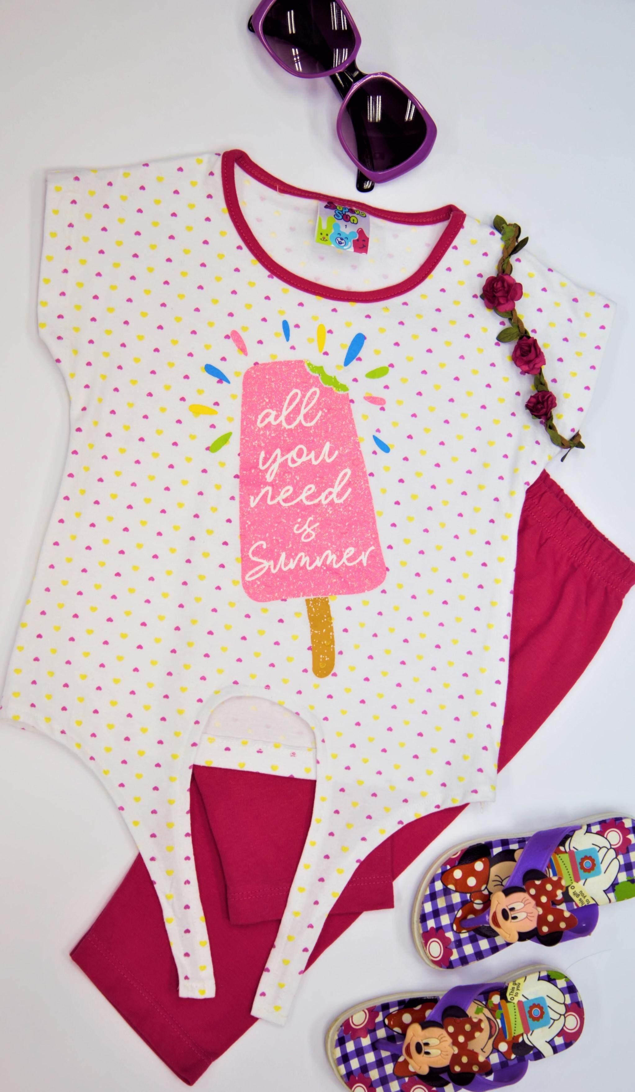 Super Sun Toddler Girl Short Sleeve Set(Top + Bottom) GS-01B White