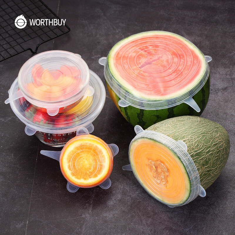Silicone Cover Reusable Food Packaging Sealing Cap Vacuum Stretch Lids Kitchen