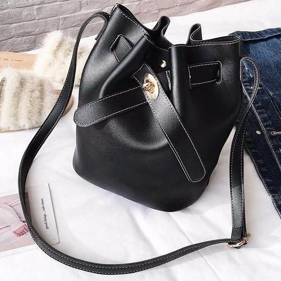 Simple design bucket bag plain color all match ladies bag (black color)