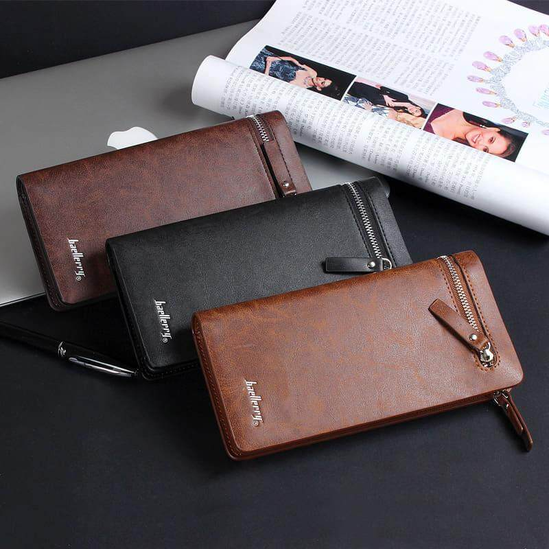[M'sia Warehouse Direct] 2019 Korean Series Men's Leather Clutch Bag Multipurpose Fengshui Long Wallet (Come With Box) Long Purse Perfect Gift For Love One Handcarry Can Fit Iphone Any Mobile Portable Bag Card Holder Dompet Panjang Kulit Halal