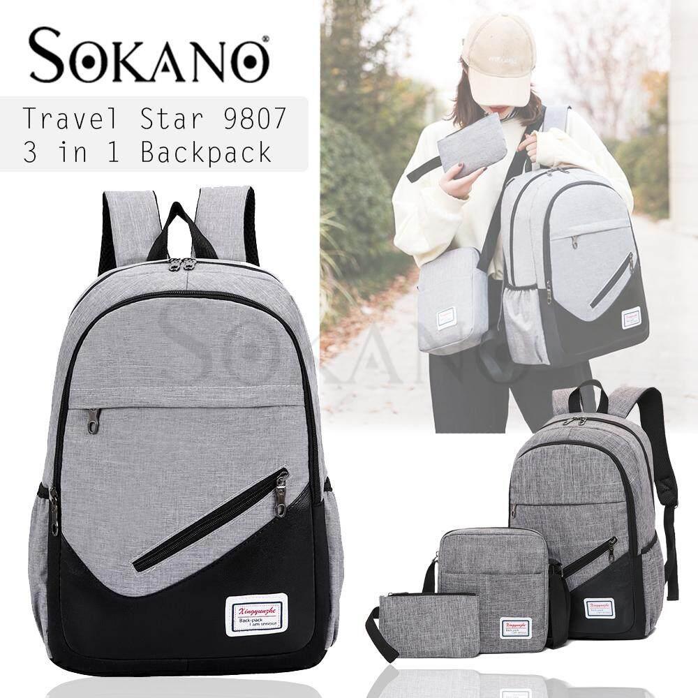 (RAYA 2019) Travel Star 9807 Korean Style 3 in 1 Canvas Men beg lelaki Set College Travel Study Unisex Backpack