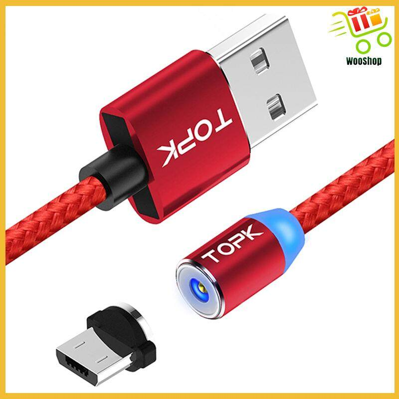 TOPK R-Line2 Reversible Micro USB LED Magnetic Braided Cable 1M - GOLD / SILVER / RED / BLACK
