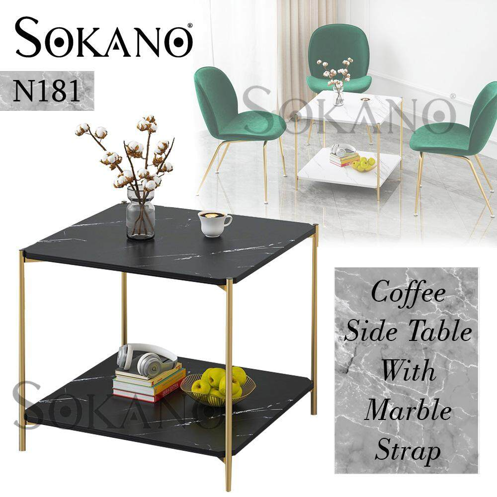 SOKANO N181 Coffee Table Side Table Small Table With Marble Strap Surface Living Hall Furniture Meja Kopi